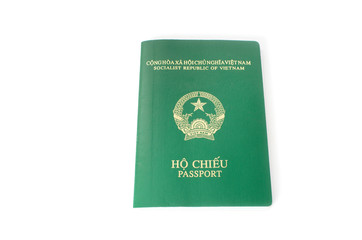 Vietnamese passport against white background