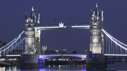 Time lapse close up Tower Bridge London twilight