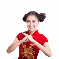 pretty girl with cheongsam wishing you a happy Chinese new year