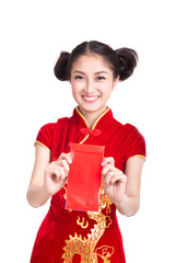 young chinese woman giving red bag