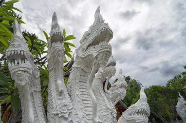 Many headed Naga statue closeup - decoration at every Buddhist t
