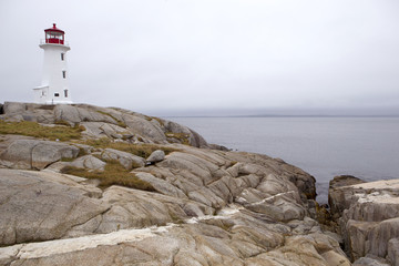 Historical Peggy Cove lighthouse, Newfoundland
