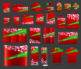 Christmas light background with corporate identity templates