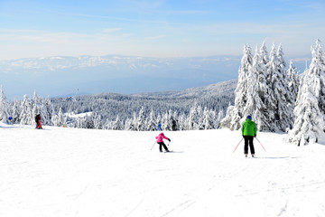 Skiers skiing on mountain
