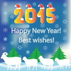 2015 bighorn ram, sheep. Happy New Year template.