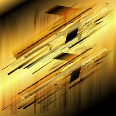 Abstract arrows fly golden background