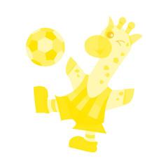 サッカーするキリン