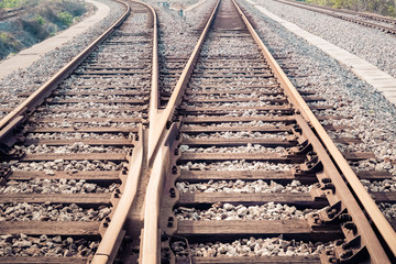 closeup of the railway track