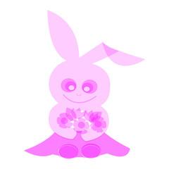 花を持つウサギ