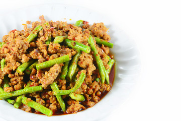 Fried chilli paste sauce with pork with cowpea  thai food ,isola