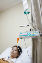 Patient and IV drip machine