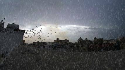 heavy rain with cloudy sky over building surface