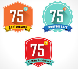 75 year birthday celebration flat design, 75th anniversary