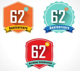 62 year birthday celebration flat design, 62nd anniversary