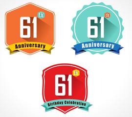 61 year birthday celebration flat design, 61st anniversary