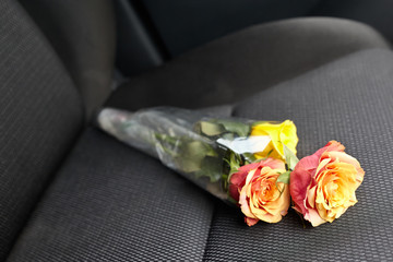 Flower on the car seat