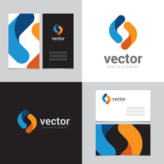 Logo design element with two business cards - 15