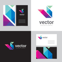 Logo design element with two business cards - 14