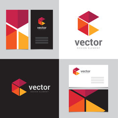 Logo design element with two business cards - 17