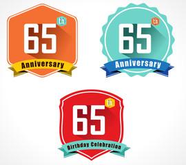 65 year birthday celebration flat design, 65th anniversary