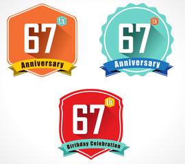 67 year birthday celebration flat design, 67th anniversary