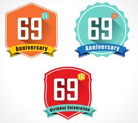 69 year birthday celebration flat design, 69th anniversary