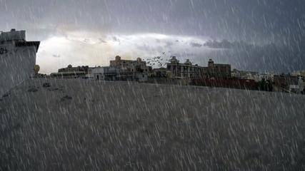 heavy rain over building surface