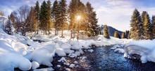 "Постер, картина, фотообои ""Winter mountain panorama"""