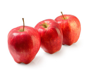 Group of red Washington apple isolated clipping path.