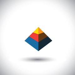 concept vector 3d triangle icon in shape of polyhedron made of y