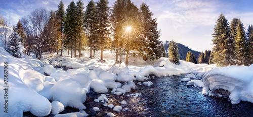 Winter mountain panorama - 73867066