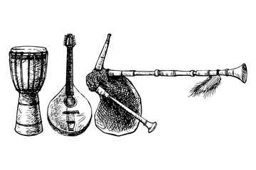Ethnic Musical Instruments Vector
