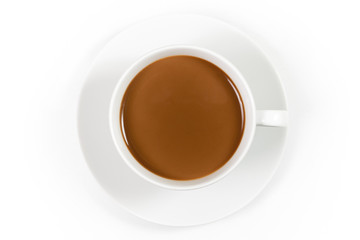 Cup of coffee with milk isolated on white background, top view