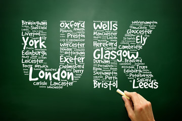 UK letters with cities names words cloud concept on blackboard