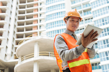 Engineer with digital tablet