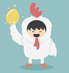 Chicken white and golden egg