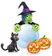 Witch cat pumpkins and crystal ball