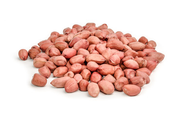 Pile of red peanuts on white background