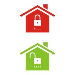 Iconos casa segura candado abierto y cerrado color