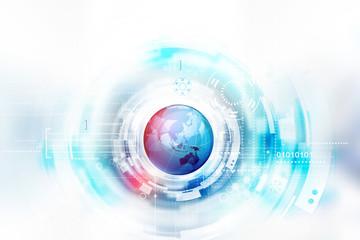Globe on technology background