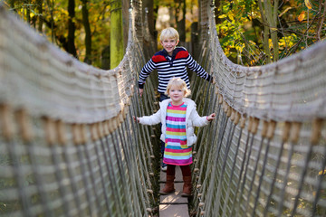 Brother and sister climbing on the rope bridge in adventure park