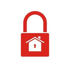 Icono candado casa cerrado rojo