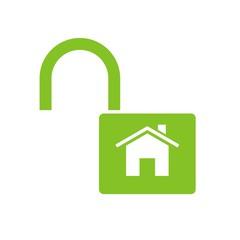 Icono candado casa abierto verde