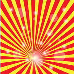 Vector background sun rays with red and orange color