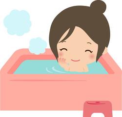 湯船でリラックスする女性