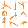 Yoga fitness orange icons