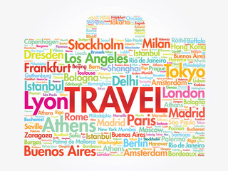 Suitcase travel concept words cities names, vector collage