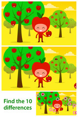 Kids puzzle printable with cute apples iin orchard