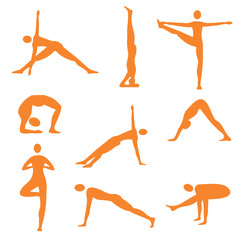 Yoga fitness orange icons