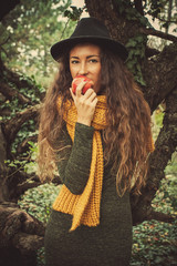 winter girl with apple